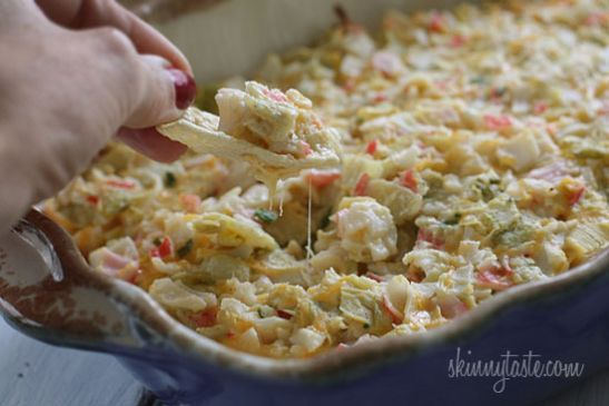 Hot and Cheesy Crab and Artichoke Dip Recipe | SparkRecipes