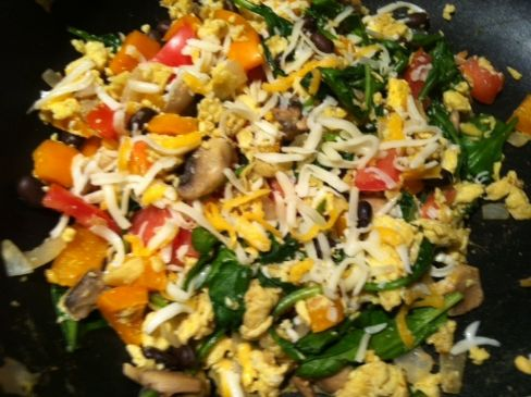 Eggs with Veggies, Beans and Cheese