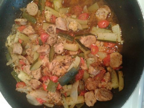 Sausage and Zuchinni Stir fry
