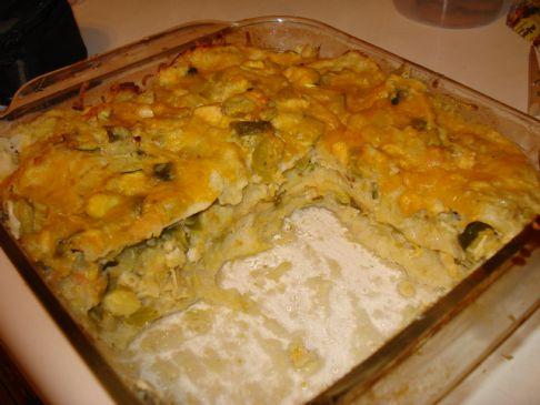 Chicken Enchilada Suiza Casserole