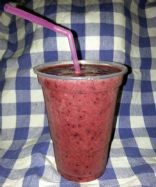 Banana, Dark Cherry, strawberry and blueberry smoothie