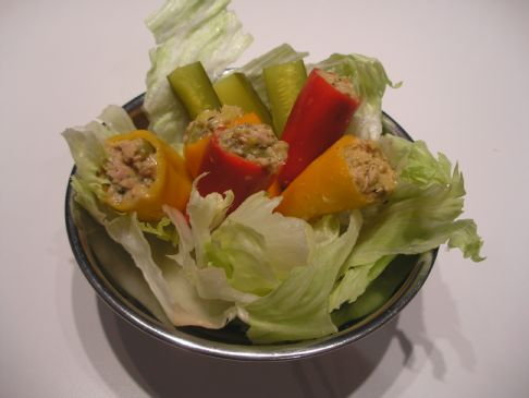 Red and Yellow Tuna Stuffed Peppers