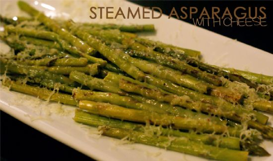 Steamed Asparagus with Cheese - Lite