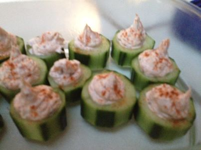 Lox and Cream Cheese Stuffed Cucumbers