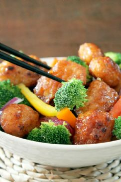 Orange Chicken with Vegetables over Rice