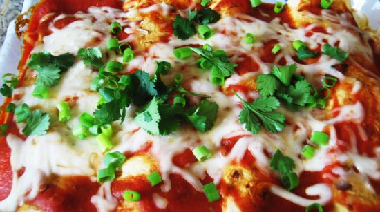 Vegetable Enchiladas with Red Sauce