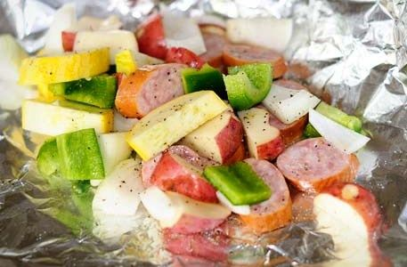 Kielbasa Foil Packet dinner