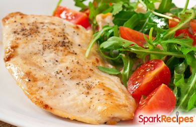 Grilled Chicken Paillard with Lemon and Black Pepper and Arugula-Tomato Salad