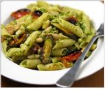 White Bean Pesto Pasta with Fast-Roasted Tomatoes & Zucchini
