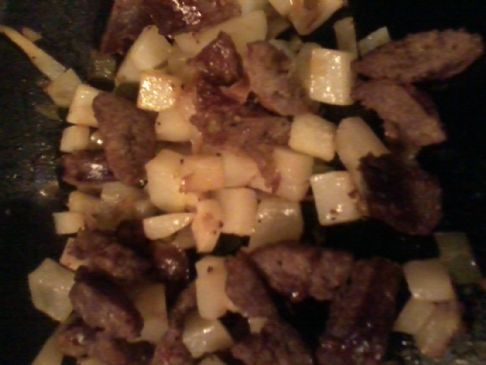 sausage and potatoes cubes