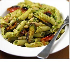 White Bean Pesto Pasta with Fast-Roasted Tomatoes & Zucchini
