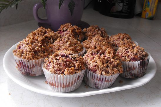 Whole Wheat Raspberry Streusel Muffins
