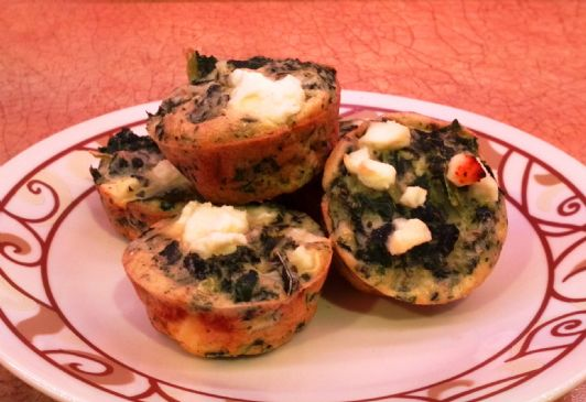 Crustless Bite-sized Mini Quiche with Kale & Feta