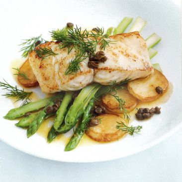 Roasted Fish, Potato & Asparagus with Dill