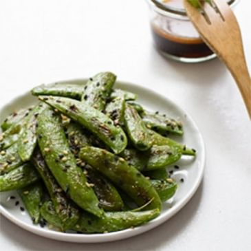Roasted Peas with Sesame Dipping Sauce
