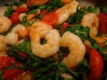 Saut�ed Shrimp with Arugula and Tomatoes