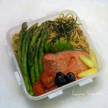 Poached Salmon and asparagus over pasta Recipe | SparkRecipes