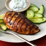 Grilled Tandoori Chicken with Cucumber-Yogurt Sauce