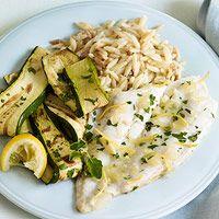 Lemony Flounder with Roasted Zucchini