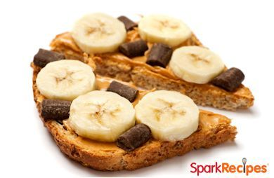 Peanut Butter, Chocolate and Banana Breakfast Sandwich