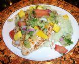 Mango Salsa Chicken with avocado mashed potatoes
