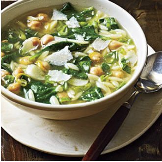 Spinach, Pasta & Pea Soup