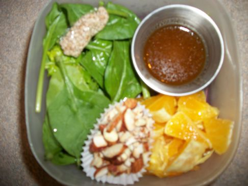 Spinach-and-Orange Salad with Almonds and Sweet-Sesame Dressing