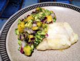 Pan Fried White Fish with Avocado and Mango Salsa