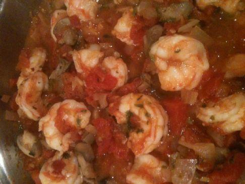 Shrimp and Basil Marinara with mushrooms