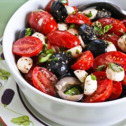Tomato, Olive, and Mozzarella Salad with Basil Vinaigrette