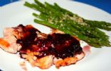 Blackcurrant Salmon fillet with Garlic-Sesame seed Asparagus