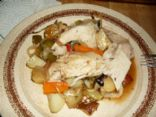 Roasted Chicken (Garlic/Thyme/Lemon infused) and Veggies (finger licking good)