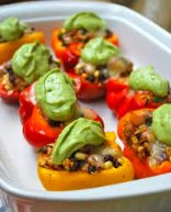 Stuffed Bell Peppers with Avocado Cilantro Lime Sauce