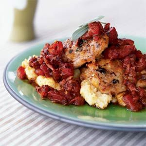 Chicken with Prosciutto and Tomatoes Over Polenta