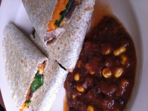 Vegan Sweet Potato, Spinach & Black Bean Quesadilla