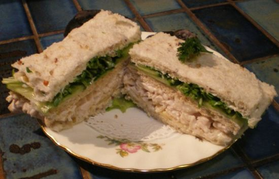 Chicken, Almond and Cress Ribbon Sandwiches