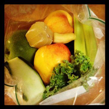 Juice: cuke, celery, apple, kale, lemon, ginger