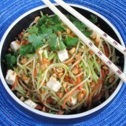 Tofu with Broccoli Slaw and Gyoza Stir Fry