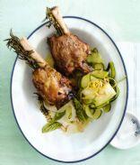 Lamb Shankds with Zucchini & Basil Salad