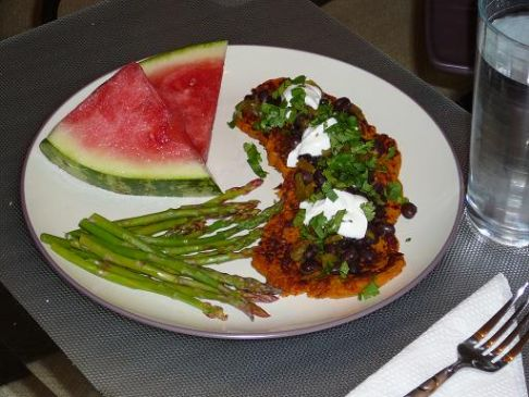 Sweet Potato Cakes with Black Beans and Green Chilis