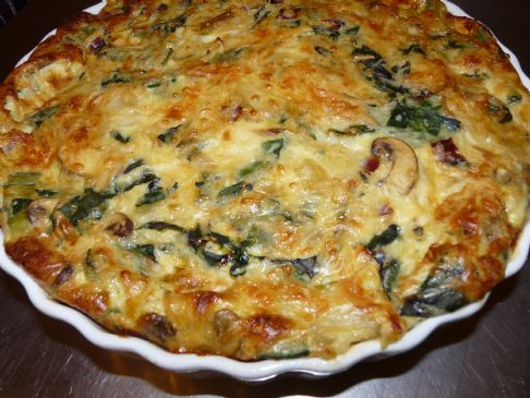 Crustless Quiche with Onion, Mushrooms and Swiss Chard Recipe ...