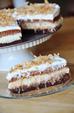 Brownie Bottom Coconut Chocolate Cream Cake