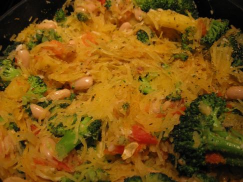 Roasted Spaghetti Squash with Garlic, Broccoli, Beans, and Tomatoes