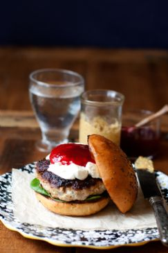 Herbed Turkey Burgers with Goat Cheese and Cranberry Sauce