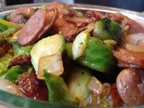 Brussels Sprouts with Bacon and Andouille Sausage