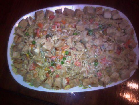Veggie Chicken Pasta Alfredo