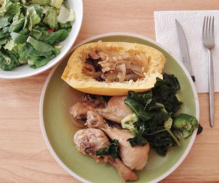 Organic Chicken Legs w/ Mushroom Gravy, Spaghetti Squash & Greens