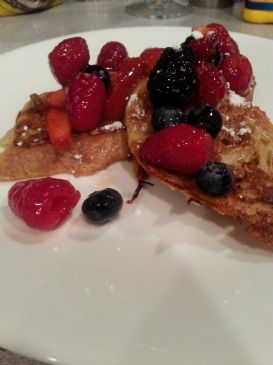 Pain Perdu with Champagne Glazed Berries