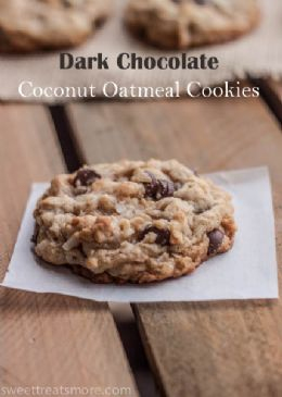 Dark Chocolate Coconut Oatmeal Cookies