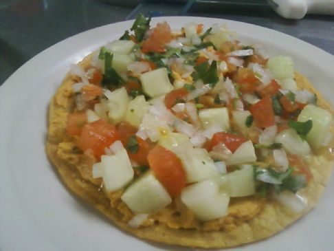 chipotle hummus tostadas with pico de gallo (cucumber)